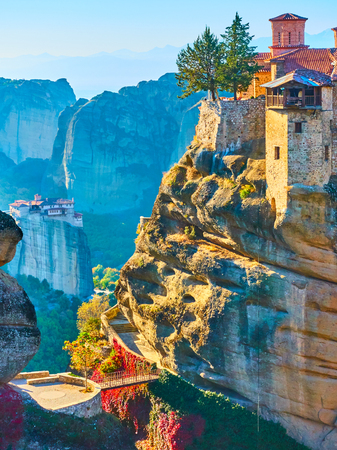 The Varlaam monastery in Meteora, Greece. Landscape 免版税图像