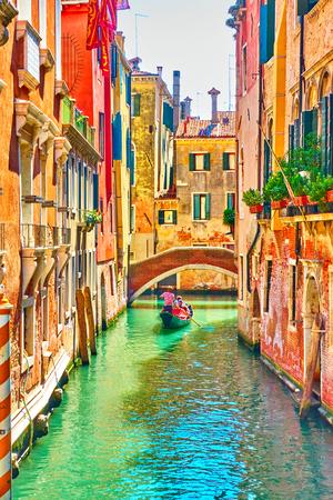 Venetian canal on summer sunny day, Venice, Italy