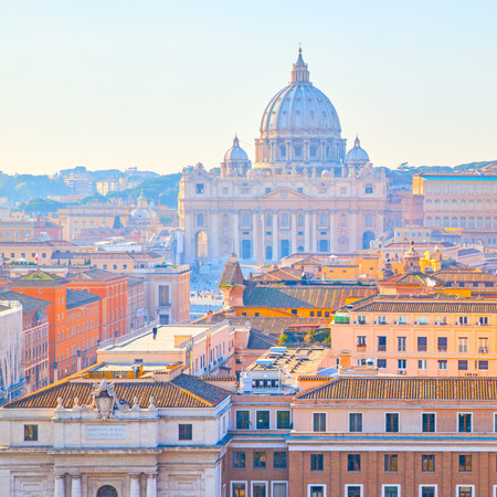 View of Rome with St. Peters basilica in the Vatican, Italy