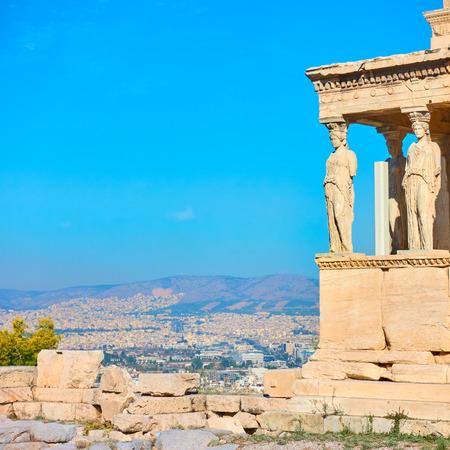 El pórtico de las cariátides en la Acrópolis de Atenas, Grecia. Espacio para texto Foto de archivo