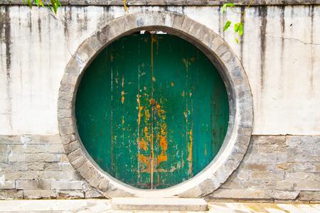 Alte runde Tür in Peking, China Standard-Bild