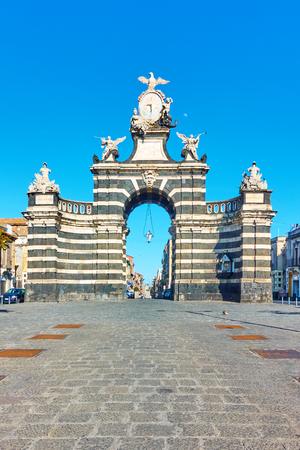Porta Garibaldi gate (1768 ) in Catania, Sicily, Italy