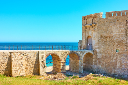 Old fortress by the sea in Syracuse, Sicily Island, Italy