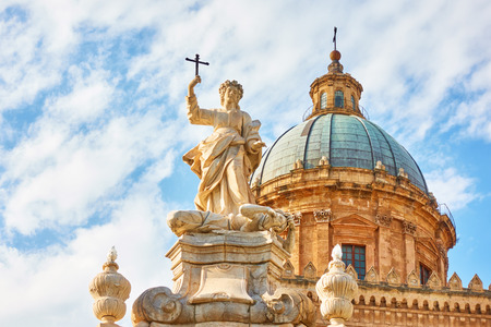 Santa Rosalia statue in front of Palermo Cathedral, Sicily, Italy