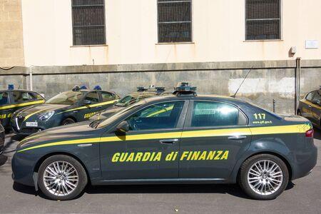 Catania, Italy - March 16, 2019: Italian Financial Guard car (Guardia di Finanza) in Catania, Sicily
