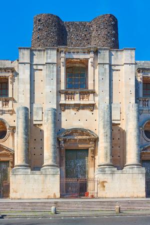 Incomplete Church of San Nicolo (Chiesa di San Nicolo l`Arena), Catania, Sicily, Italy