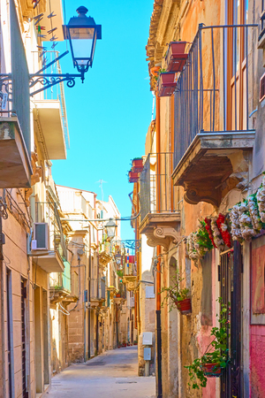 Old street in the Old City of Syracuse, Sicily, Italy