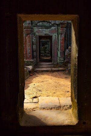 Perspective of ancient doorways in Angkor Wat, Cambodia