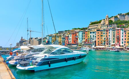 Panoramic view of marina and Porto Venere (Portovenere) town in Cinque terre national park, Liguria, Italy Imagens