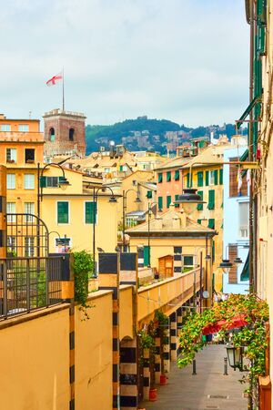 View of central part of Genoa city, Liguria, Italy