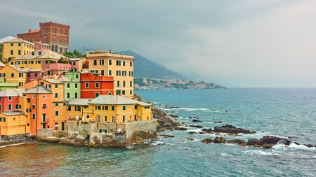 Coast with picturesque houses by the sea in Boccadasse in Genoa (Genova), Liguria, Italy Reklamní fotografie - 129637273