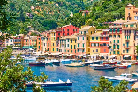 View of Portofino town -  luxury resort on the Italian riviera in Liguria, Italy Reklamní fotografie - 129637296