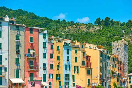 Colorful houses by the sea in Porto Venere (Portovenere) in Cinque terre national park, Liguria, Italy Reklamní fotografie - 129637298