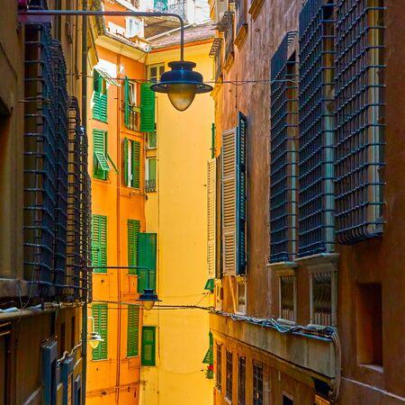 Picturesque genoese old narrow street, Genoa (Genova), Italy
