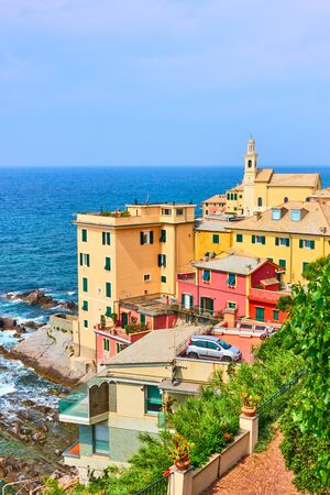 Houses by the sea in Boccadasse district in Genova, Liguria, Italy