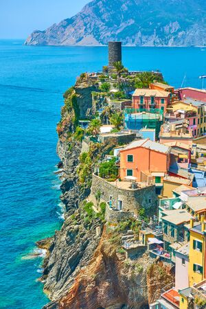 Picturesque Vernazza small town on the rock by the sea in Cinque Terre National Park, Liguria, Italy
