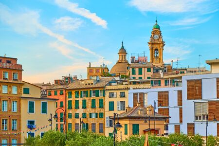 Genoa city at sunset, Liguria, Italy - Cityscape of old town Reklamní fotografie - 129636848