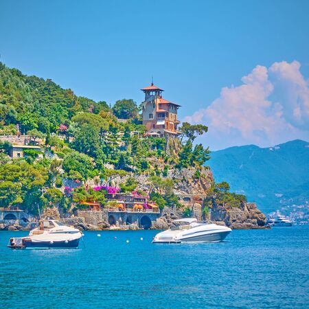 Harbour at Portofino with boats and yachts on summer sunny day, Italian riviera, Italy Reklamní fotografie - 129636278