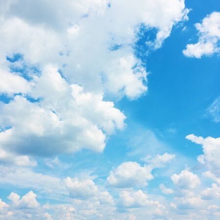 Blue sky with summer heap clouds - Natural  background