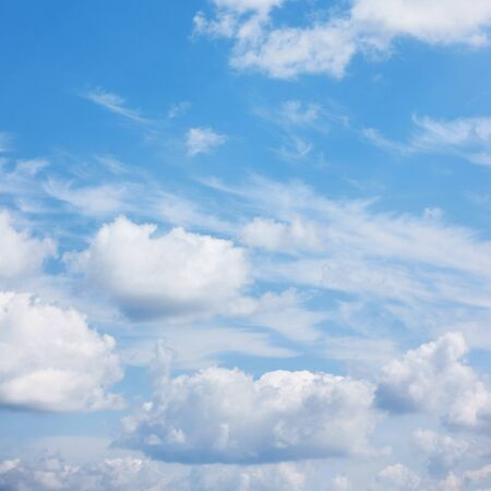 Blue sky with summer pile clouds - Natural  background