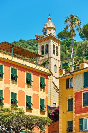 Houses and bell tower of Chiesa di San Martino in Portofino, Italy