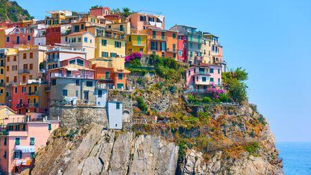 Panoramic view of Manarola town in Cinque Terre National Park, La Spezia, Italy Reklamní fotografie - 129635944