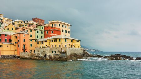 Picturesque houses by the sea in Boccadasse in Genoa (Genova),  Italy