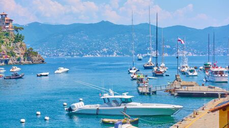 Panoramic view of harbour with yachts and boats in Portofino, Italy Reklamní fotografie - 129635289