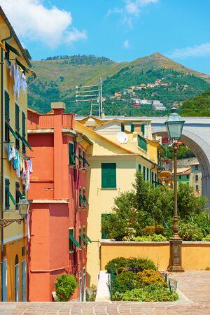 Old street in Bogliasco town near Genoa, Italy Reklamní fotografie - 129634768