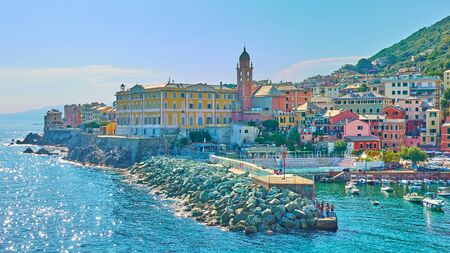 Panoramic view of waterfront with buildings by the sea in Genoa Nervi, Italy Stock Photo