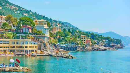 Ligurian seashore in Bogliasco near Genoa city on sunny summer day, Liguria, Italy Reklamní fotografie - 129634786