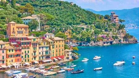 Panorama of Portofino town -  luxury resort on the Italian riviera in Liguria, Italy Reklamní fotografie - 129634793
