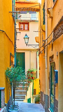 Old picturesque street in Vernazza town, Cinque Terre, Italy Reklamní fotografie - 129634904