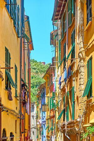 Street with colorful houses in Porto Venere (Portovenere), Liguria, Italy
