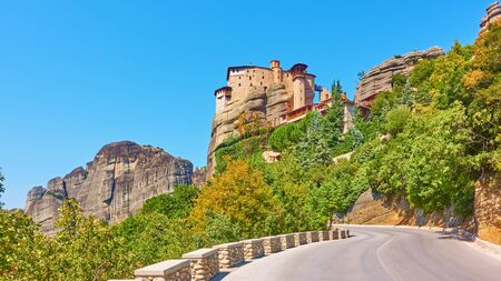 Road to The Monastery of Rousanou (St. Barbara) on the rock in Meteora, Kalabaka, Greece