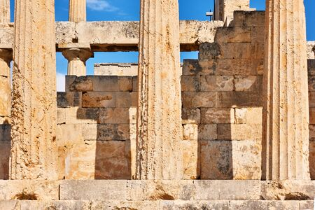 Columns of ancient temple of Aphaea in Aegina Island, Greece