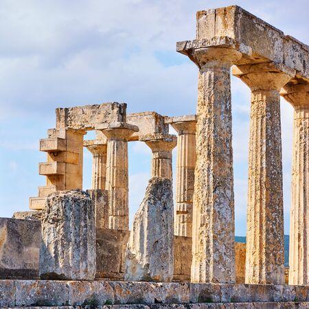 Columns of temple of Aphaea in Aegina Island, Saronic Islands, Greece