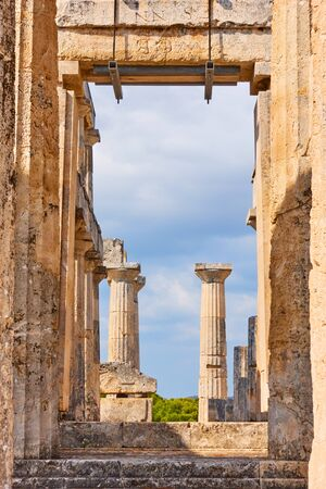 Ruins of temple of Aphaea in Aegina Island, Saronic Islands, Greece