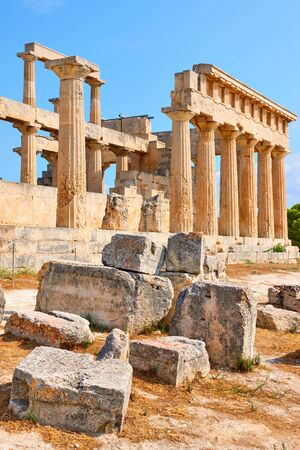 Ancient ruins of temple of Aphaea in Aegina Island in Greece, Saronic Islands