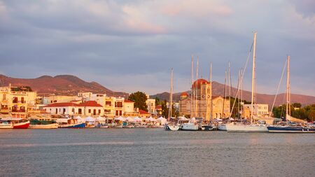 Panoramic view of port and waterfront in Aegina town at sunset, Saronic Islands, Greece Reklamní fotografie