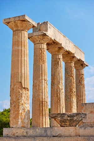 Ancient columns of temple of Aphaea in Aegina Island,Saronic Islands, Greece Reklamní fotografie