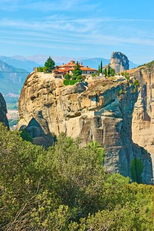 The Holy Trinity monastery on the top of the rock in Meteora, Thessaly, Greece  - Landscape