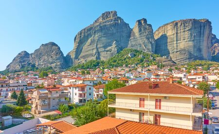Panoramic view of Meteora rocks and roofs of Kalabaka town, Thessaly, Greece. Greek landscape - cityscape