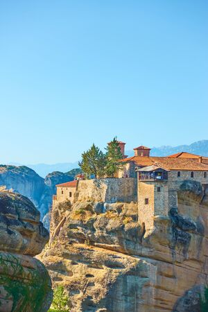 The Holy Monastery of Varlaam on the top of rock in the morning, Meteora, Greece -  Greek landscape, copyscace conposition Reklamní fotografie