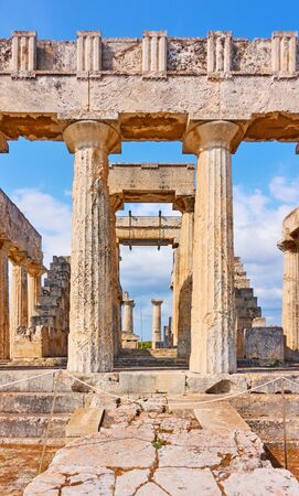 Front of Temple of Aphaea near Agia Marina town in Aegina Island, Saronic Islands, Greece