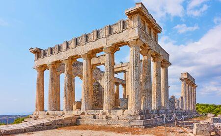 Ancient ruins of Temple of Aphaea near Agia Marina town in Aegina Island, Saronic Islands, Greece