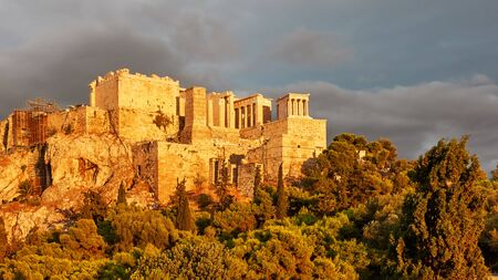 The Acropolis in Athens city at sunset, Greece - Greek landscape 写真素材