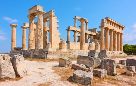 Ruins of ancient greek temple of Aphaea in Aegina Island, Saronic Islands, Greece 写真素材