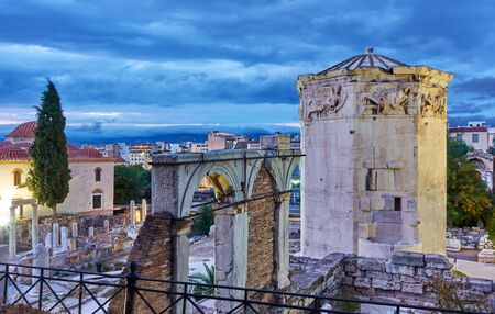 Roman Agora with the Tower of the Winds in the old town of Athens at twilight, Greece
