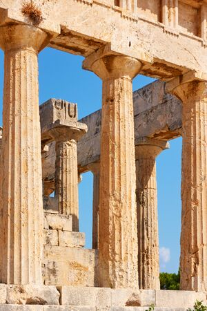 Columns of temple of Aphaea in Aegina Island, Greece. Masterpiece of ancient greek architecture